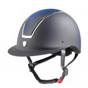 Casco Tattini con Visera Ancha Placa Brillante azul