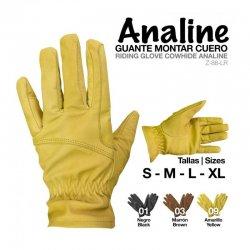 Guante Montar Cuero Analine Amarillo Zaldi