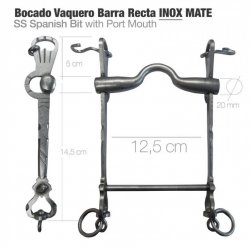 Bocado Vaquero Barra Recta 2D Inoxidable Mate 12.5 cm