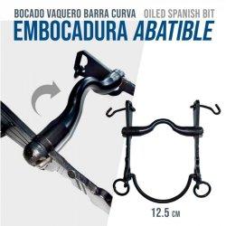 Bocado Vaquero Barra Curva Embocadura Abatible 12.5 cm