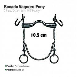 Bocado Vaquero Barra Curva Pony Pavonado 10.5 cm zaldi
