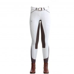 Pantalón Cavalliera blanco con  Marrón
