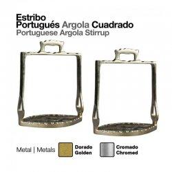 Estribo Portugués Árgola Cuadrado dorado zaldi