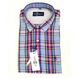 Camisa Sport Lino y Algodón con Bolsilllo Azul y Rojo