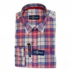 Camisa Cro Sport de Algodón con lino Roja y Azul