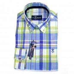 Camisa Sport de Lino con Algodón Verde y Azul
