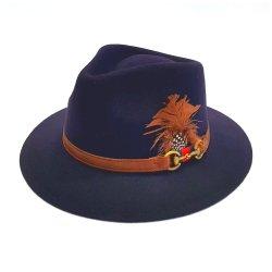 Sombrero Indiana Impermeable Azul con Pluma