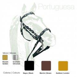 Cabezada Portuguesa Doble Rienda Cuero Extra Zaldi