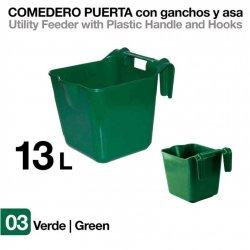 Comedero de Puerta con Ganchos y Asa Verde 13 litros Zaldi