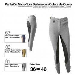 Pantalón Microfibra para Mujer con Culera de Cuero Gris