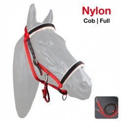 Cabezada Cuadra-Montar de Nylon Negro-Rojo