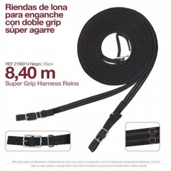 Enganche Riendas Lona Sueltas Negro Zaldi