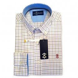 Camisa Caballero Sport Cuadros Marino y Celeste