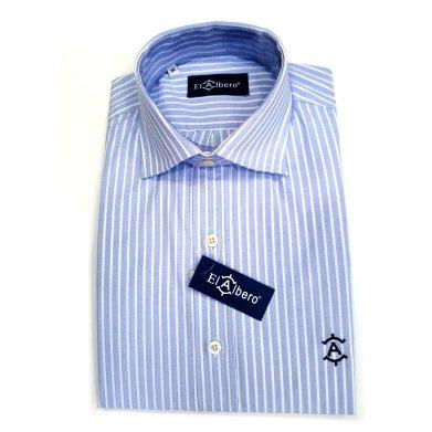 Camisa Cro Azul Raya Blanca
