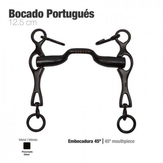 Bocado Portugués Embocadura 45º Pavonado 12,5cm