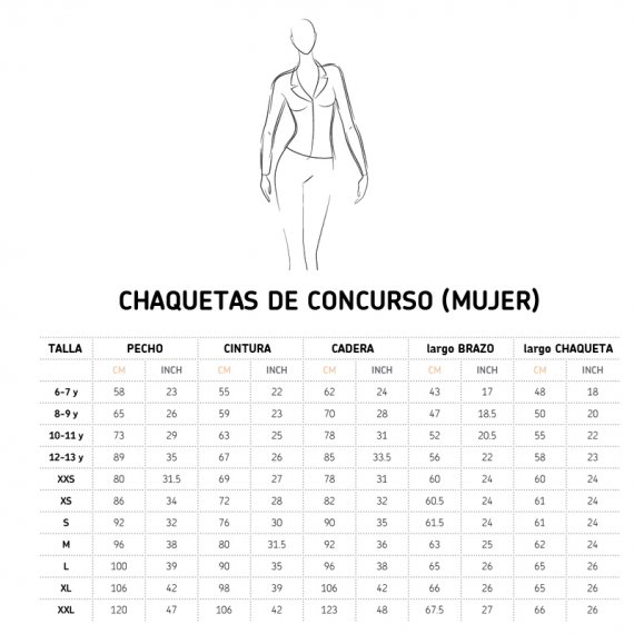 Tabla de medidas chaqueta Cavalliera